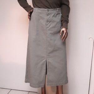 Casual Outdoor Look Olive Khaki Maxi Skirt